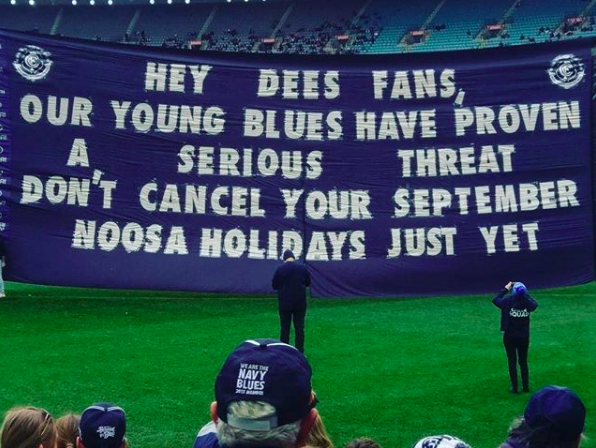 2017 vs. Melbourne - Melbourne fans were starting to talk finals, so this was a bit of fun. 'Hey Dees Fans' ruins the cadence, but someone at the club apparently thought we needed it so 'everyone would know who we were talking about'... go figure.