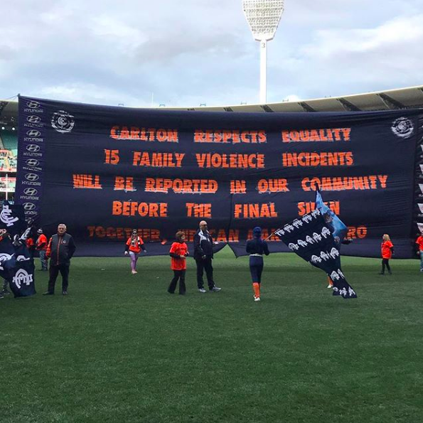 2017 Carlton Respects - Danny McGinaly and I were preparing for a 'banner battle' before the Carlton-Bulldogs game, but it then fell on Carlton Respects round. Carlton Respects is an initiative aimed at raising awareness around Australia's domestic violence problem. Instead of fighting, we worked together. Based on statistics, I put this banner together, and Danny's banner told everyone to look at our banner instead as it was more important. The bottom line reads 'TOGETHER WE CAN MAKE IT ZERO'.
