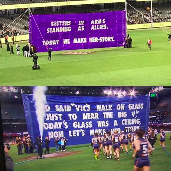 2017 AFLW STATE OF ORIGIN - This one was very cool to be involved with. I loved State of Origin as a kid, and was asked to put together the banners for the 2017 AFLW State of Origin match between the Allies and the Big V. The Vic's side starts with 'TED SAID', referencing the late great Ted Whitten.