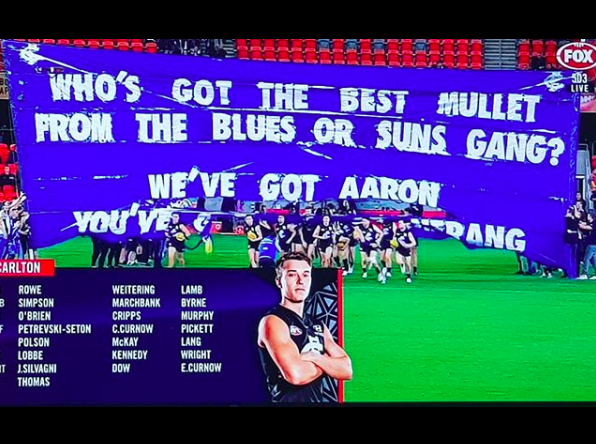 2018 vs. Gold Coast - WHO'S GOT THE BEST MULLETFROM THE BLUES OR SUNS GANG?WE'VE GOT AARONYOU'VE GOT ALL OF NERANGThis was called 'one of the best banners ever' on the AFL subreddit. If you don't get it, ask one of your mates from Queensland, specifically the Gold Coast.