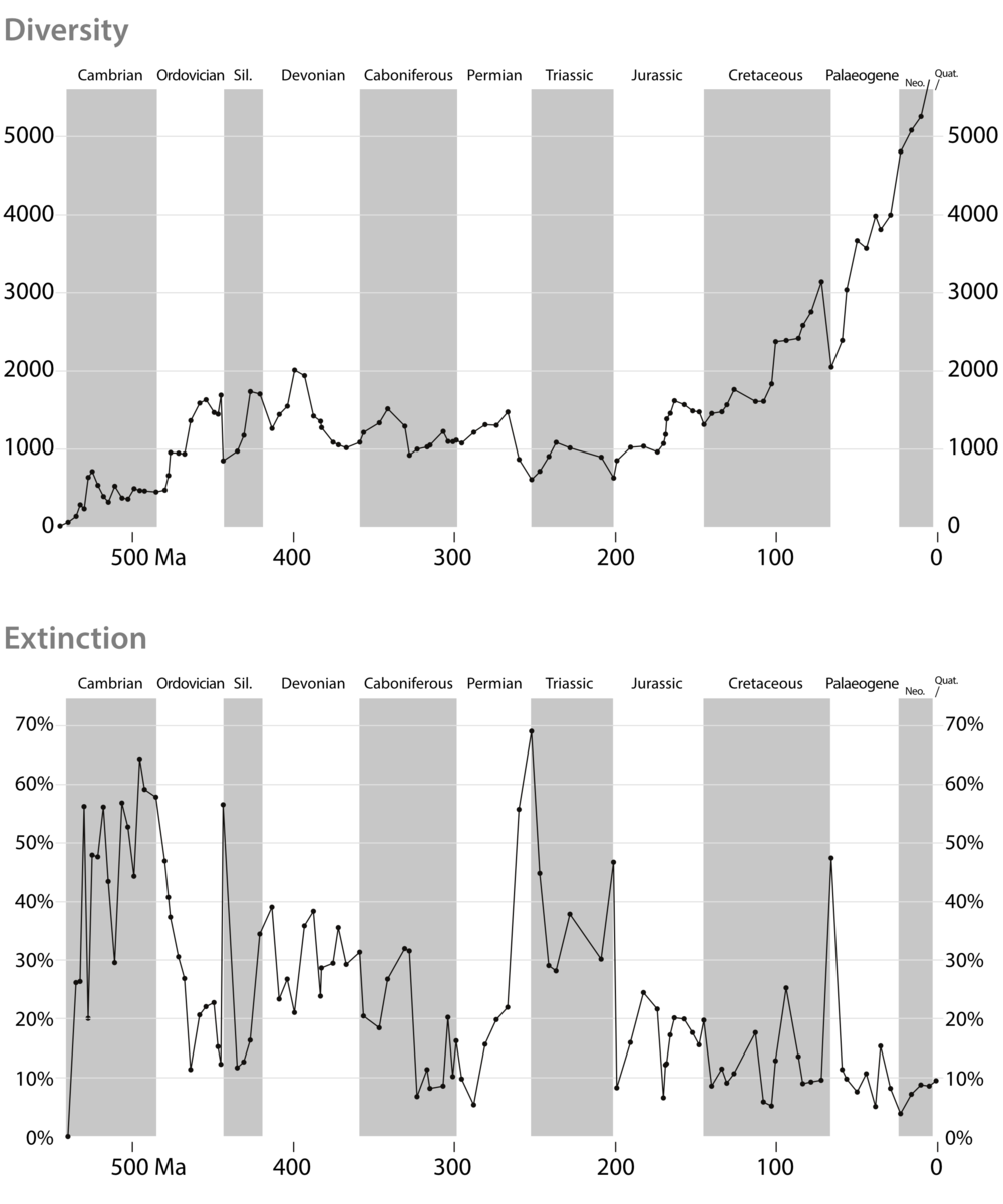 Figure 2. Summary trend of animal diversity and extinctions through time.