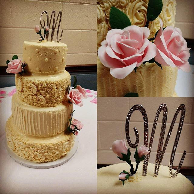 4 tier has been the trend with me this month! 3rd one so far. Haven't been asked to make sugar flowers for awhile so this was fun to do.  #yfetbakery #dairyfree #eggfree #glutenfree #wedding #cake #handmade #gumpasteflowers
