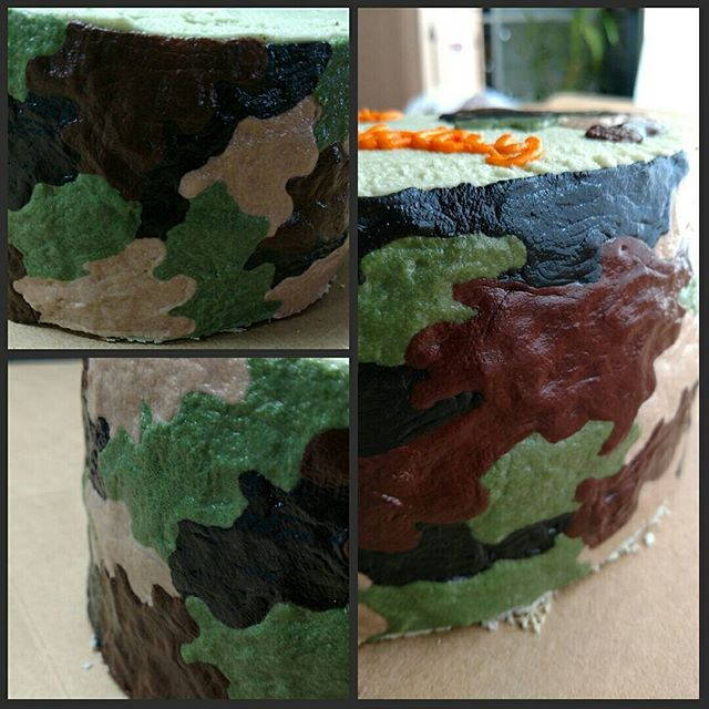 Camo cake with bright orange writing.  #yfetbakery #dairyfree #eggfree #glutenfree #cake #indianapa
