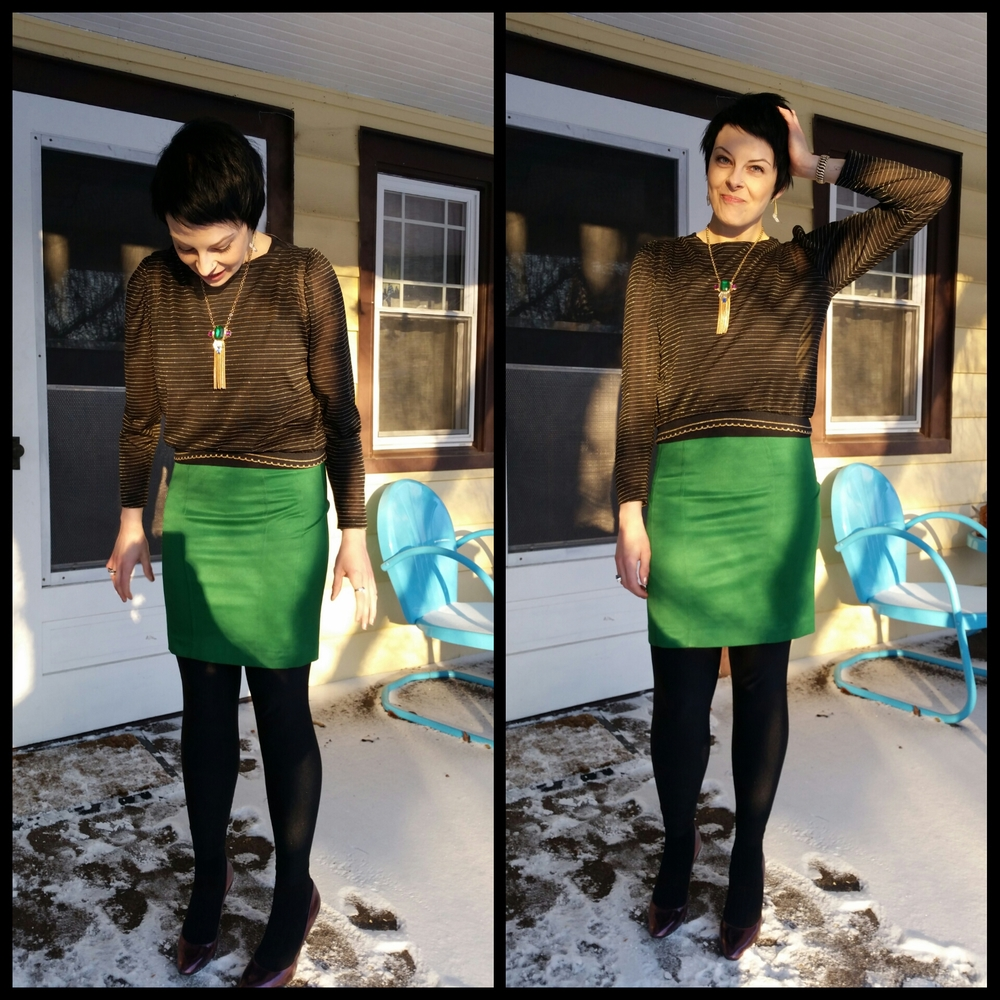Left: Oh, hey! Look, snow! Right: Oh, hey! Look, new hair!   What I'm wearing: thrifted vintage gold striped blouse, H&M skirt, American Apparel  leggings , thrifted Antonio Melani shoes, necklace from Nordstrom Rack.