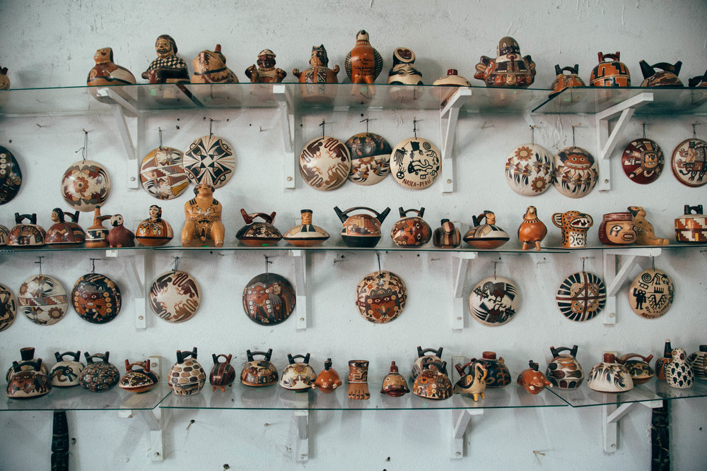Some of his pottery for sale in the show room.
