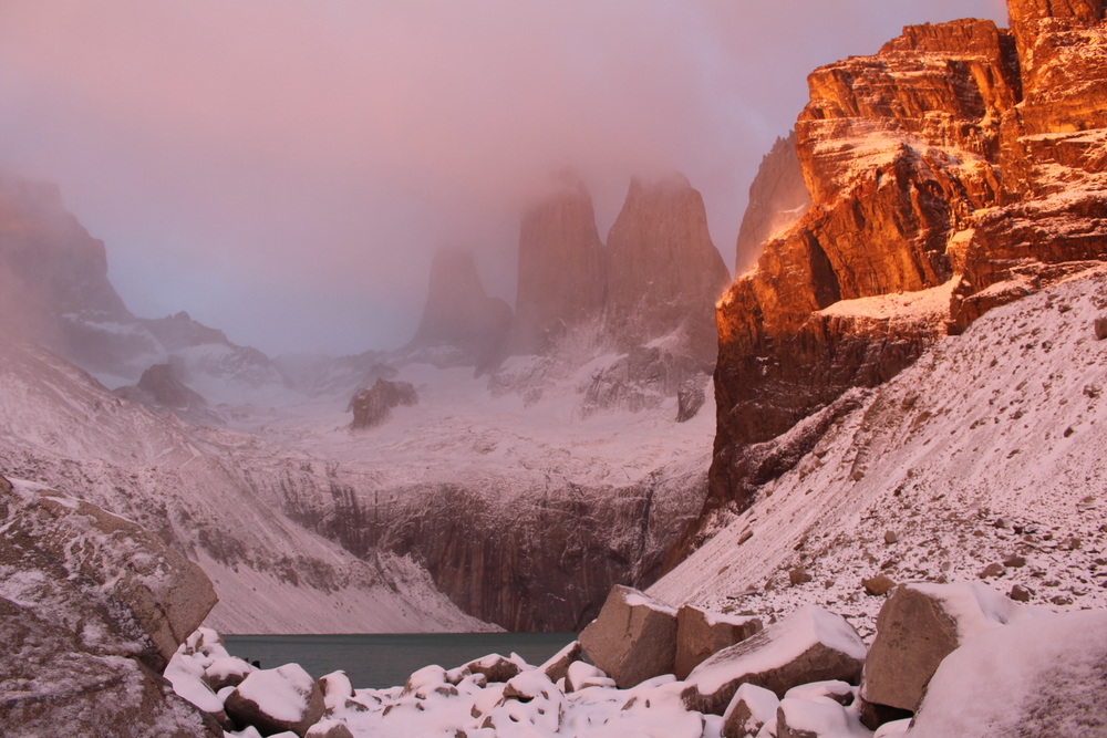 "Torres del Paine ""Towers"" at sunbreak"