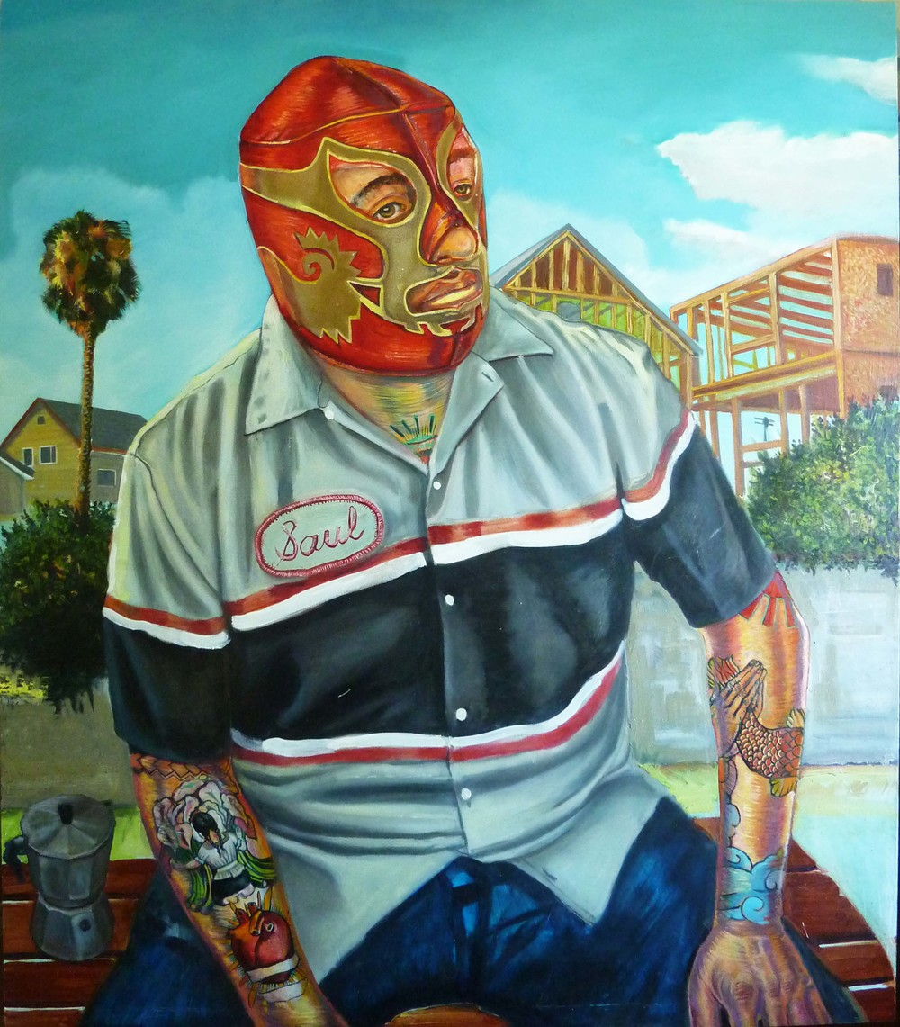 """Saul"", 2014, mix-media on panel, 38""x 40"""