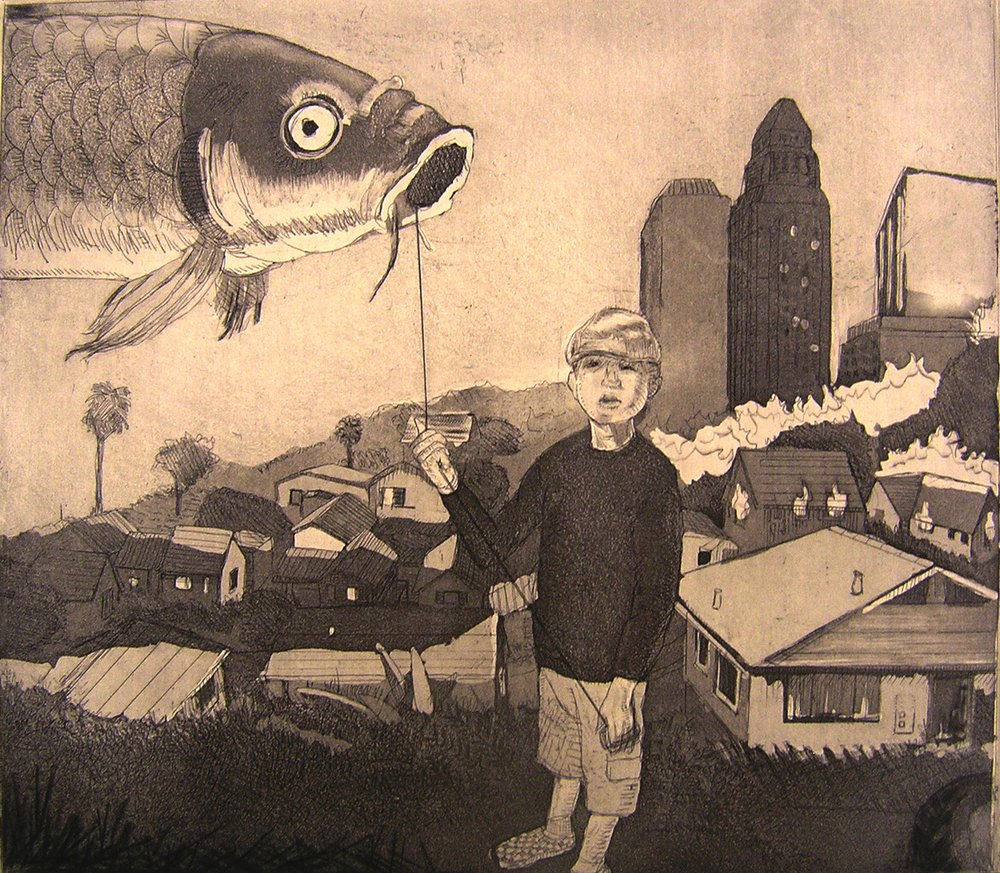 "Emo w/ Fish, 2012 Etching w/ aquatint 19""x 22"""