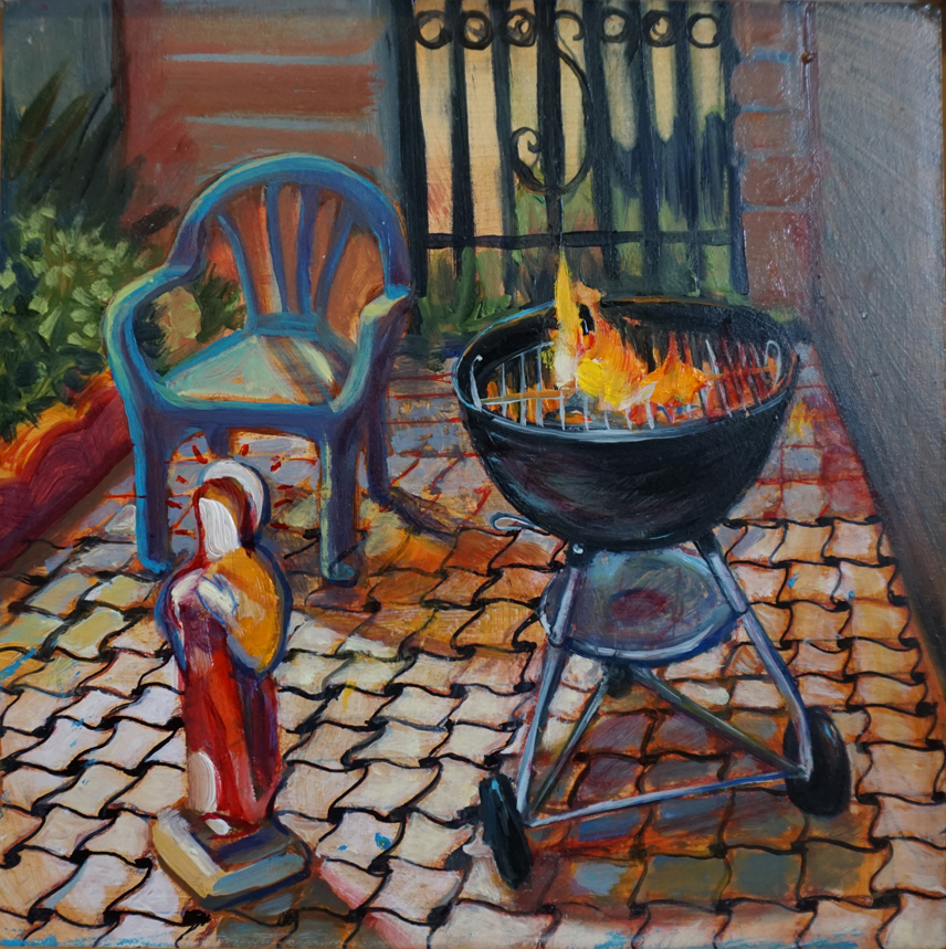 "BBQ adn Icon, 2015 oil on panel, 8""x 8"""