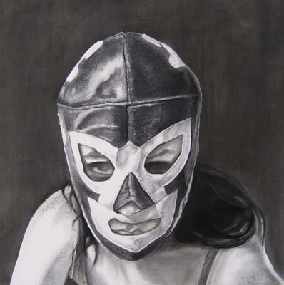 """Mina as El Huracan"" 2008 Graphite on paper 18.75""x18"""