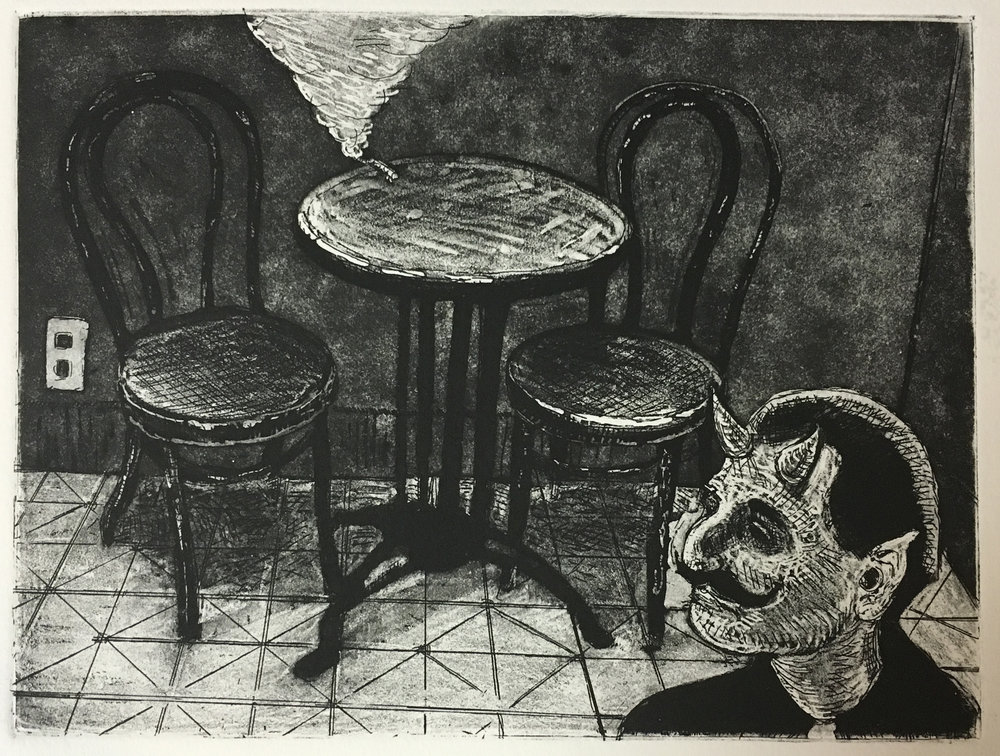 """Devil's Cafe'"" 2016 Aquatint and etching on paper, 4""x6"""