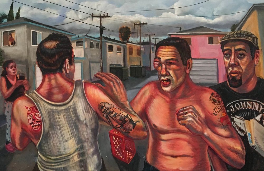 """Family Fight"", 2016 Oil mix media on panel, 31"" x 48"""