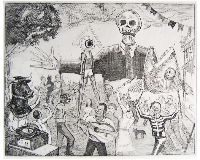 "Le Cirque Des Damnés, 2012, echting and aquatint on paper, 8""x 10"""
