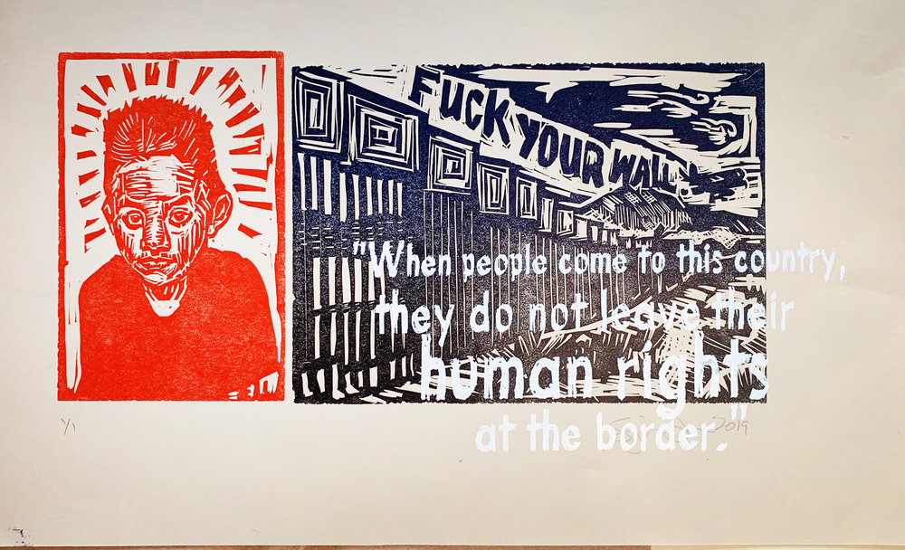 """Felipe Alonso died while in custody of  U.S. Immigration, 2019 Reduction block 12"""" x 16"""""""