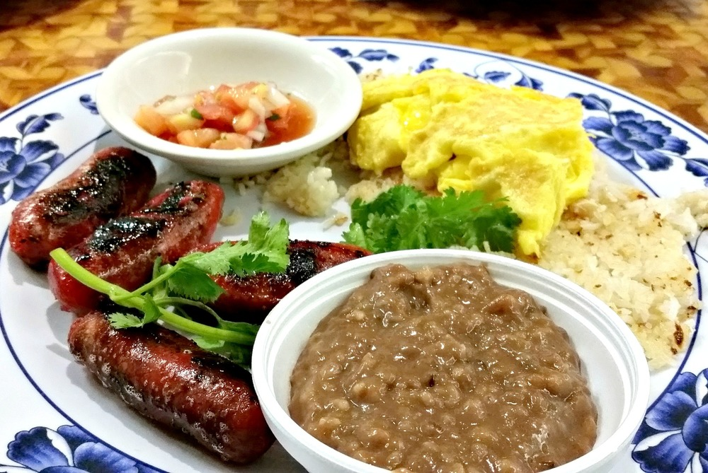 Filipino ... breakfast of longanista, garlic rice, eggs