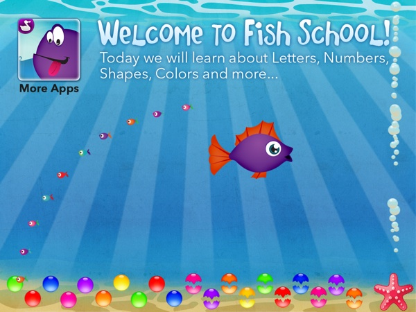 Fish School HD review - Cute app for learning letters, numbers, shapes and colors.
