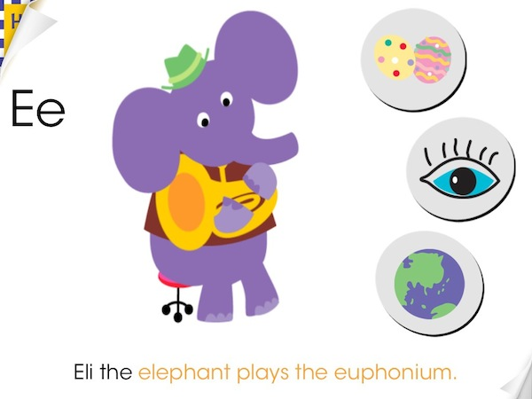 Wee Sing & Learn ABC Review - Each page has an animal playing a musical instrument whose names start with the same letter.