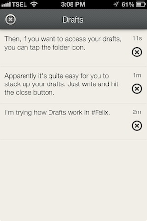 Felix for App.net Review - In Felix, you can access your list of drafts easily from within the compose window.