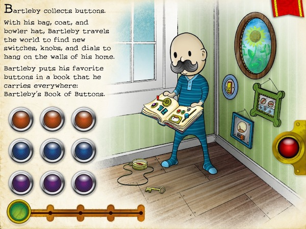 Bartleby's Book of Buttons Vol 1: The Far Away Island review - Each page in the book is a puzzle. Starting from the first page, you need to find the correct outfit combination for Bartleby among 27 different combinations.