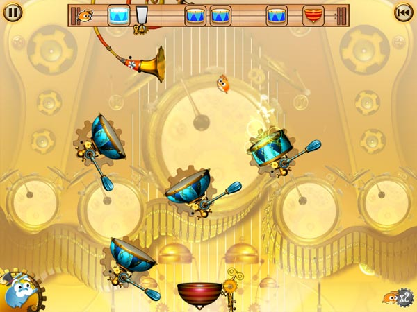 Flea Symphony review - The first few levels in the game introduce you to new game components, such as drums that can be rotated.