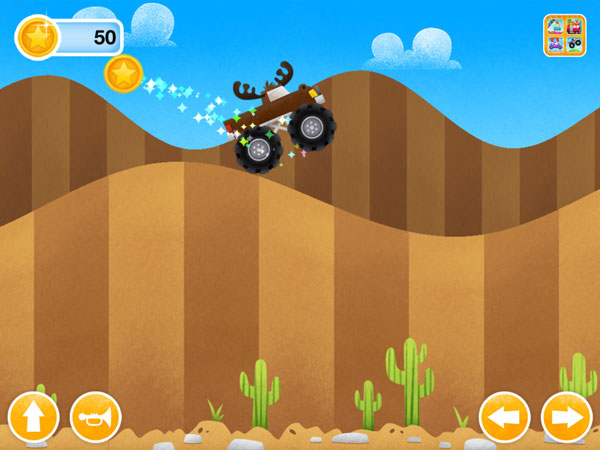 Tap the left and right arrows to control your monster truck over the bumpy terrain.