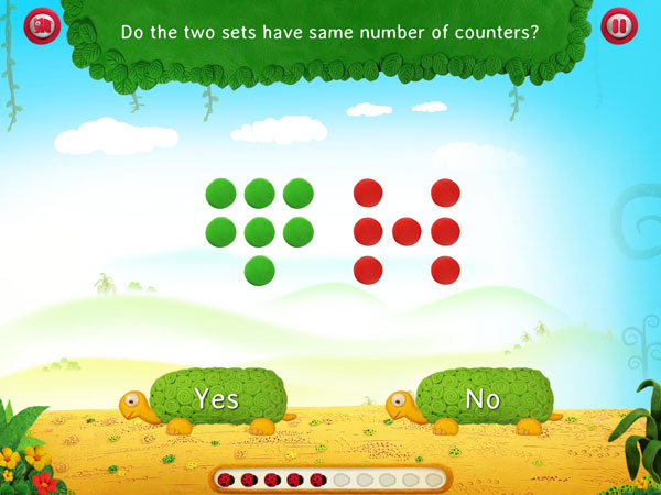 Learn a number of math skills in this jungle-themed app, such as comparing numbers and groups.
