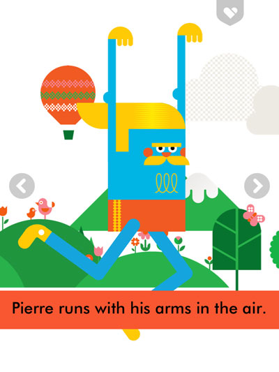 Pierre's You-Thing is running with his hands in the air.