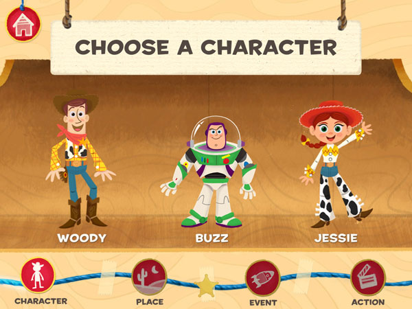 Choose from various Toy Story characters to star in your movies.