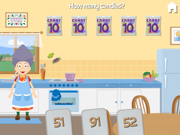 Grandma asks you to count how many candies are on the screen.