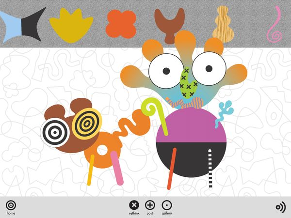 Zolo is a quirky app that lets you mix and match abstract shapes to create colorful sculptures.