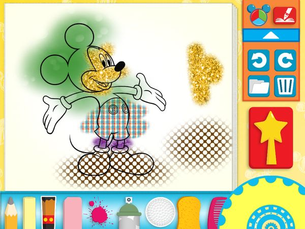 A painting in progress in Mickey Mouse Clubhouse Paint & Play HD.