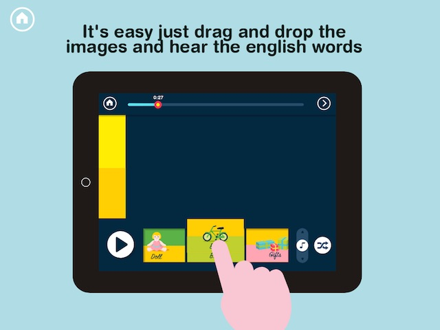 Drag flash cards onto the song timeline to compose the song lyrics.