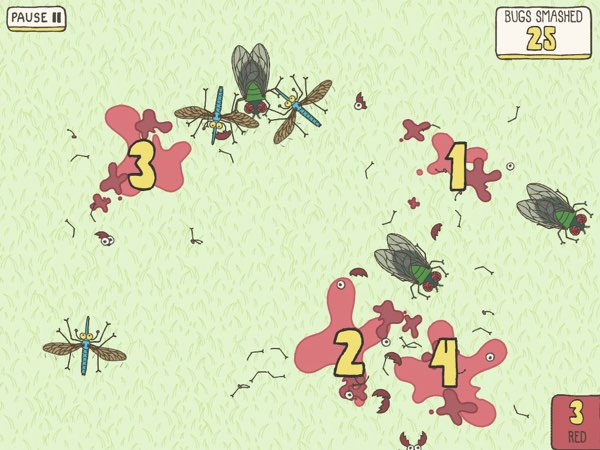 As you smash the bugs, the narrator will help you count the numbers of bugs you've smashed this way.
