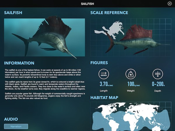 Amazing World OCEAN is an interactive encyclopedia about sea animals
