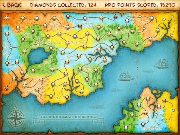 Beyond Ynth HD Review - The world map in Beyond Ynth shows which levels are still locked, which you have unlocked and which you have completed (by collecting all diamonds or not).