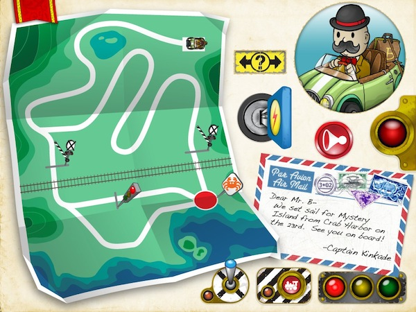 Bartleby's Book of Buttons Vol 1: The Far Away Island review - The second page of the book shows a map of roads and obstacles that you would need to overcome in order to help Bartleby reaches the Crab Harbor.