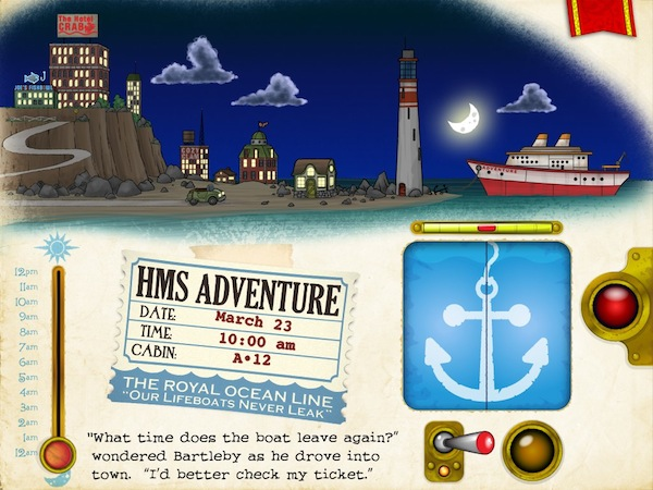 Bartleby's Book of Buttons Vol 1: The Far Away Island review - In the third page, you need to help Bartleby to board the ship. Look for the hints in his ticket.