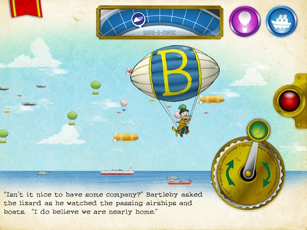 Bartleby's Book of Buttons Vol 1: The Far Away Island review - The book has a lot of unique puzzle mechanics including this one, where you need to fly Bartleby using a hot air balloon while facing a strong wind.