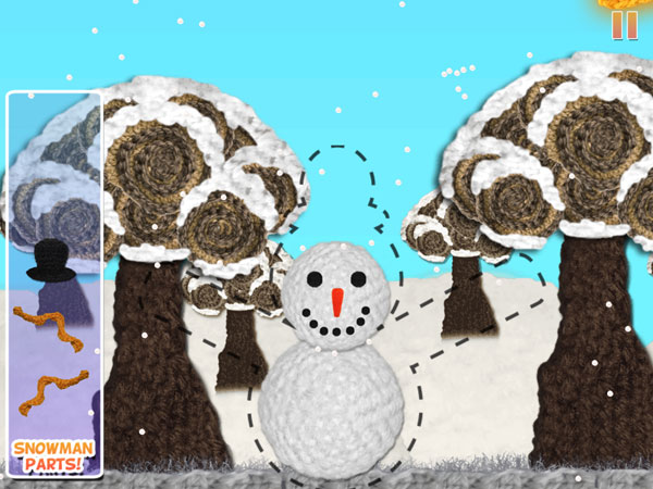 The app has six fun mini games integrated in the story. Here, kids Help Loopy rebuild the snowman.