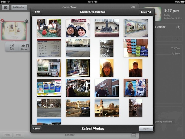 Reflection Journal September 2012 - Camera+ for iPad allows you import photos from your Facebook albums.