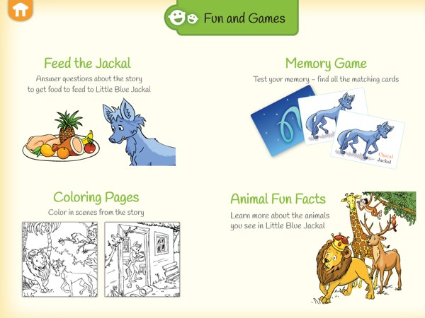 Little Blue Jackal review - Mini games and other activities are included in the app to keep children entertained