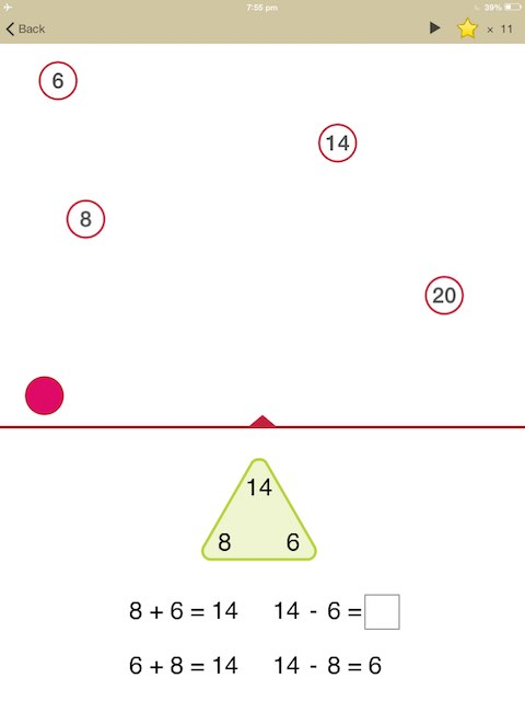 Picture Math also features less common lessons such as this fact family triangle.