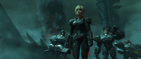 Sergeant Calhoun leads the Space Marines in Hero's Duty.