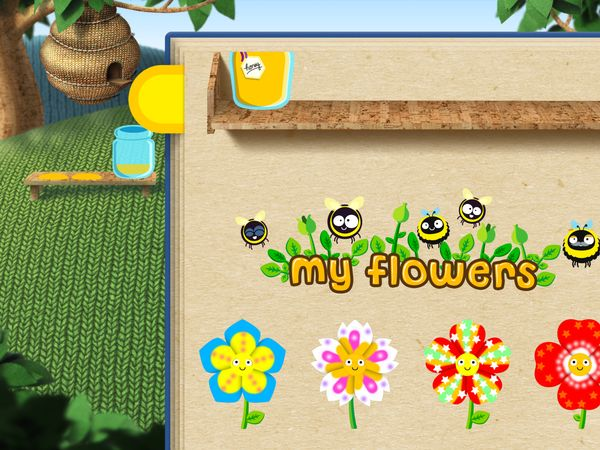 The app saves all flower designs and honey jars so kids can show them off later