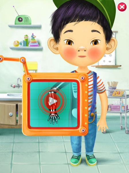 The app includes three adorable characters and five diseases to cure