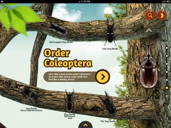 Meet the Insects: Forest Edition review - The app provides detailed information about four different subclasses of insects along with photos, videos and interactive sections.