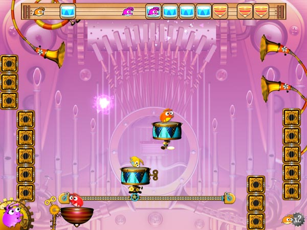 Flea Symphony review - More complex levels can feature up to three colorful fleas bouncing around simultaneously.