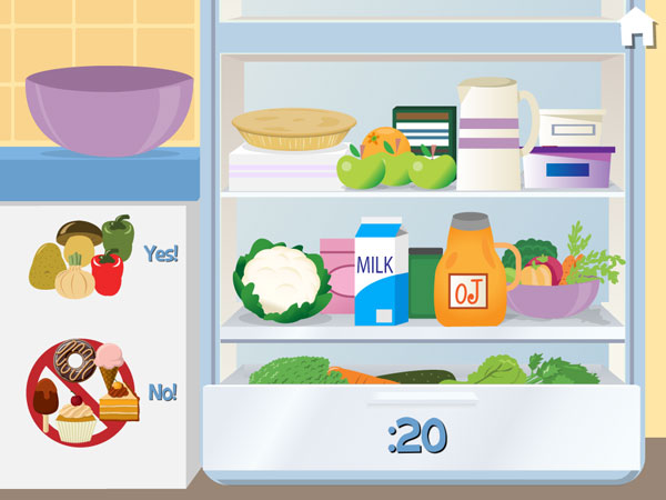A fridge showing various foods and vegetables.