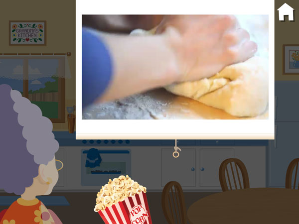 A screen showing a baking-related video.