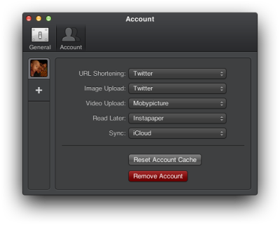Tweetbot for Mac review - You can specify which services to use in the Accounts menu